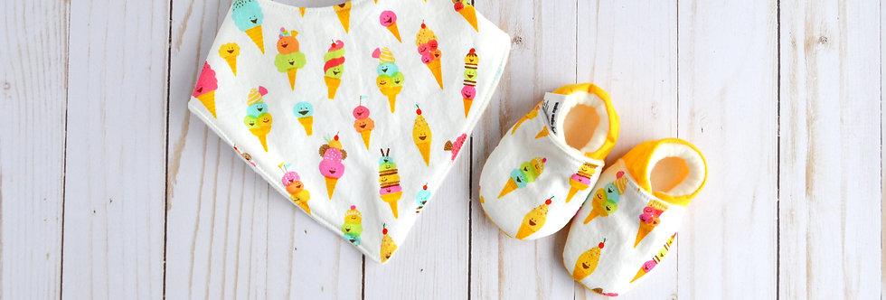 Cotton Bib and Shoe Gift Set - Vanilla Ice Cream