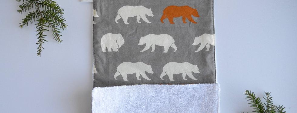 Organic Burp Cloth - Grey Bears