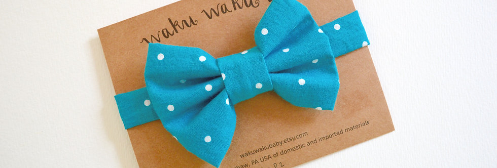 Handmade aqua polka dot bow tie for 5-8 year olds