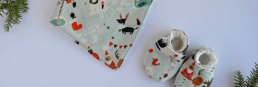 Christmas baby and shoes set made with cotton fabric