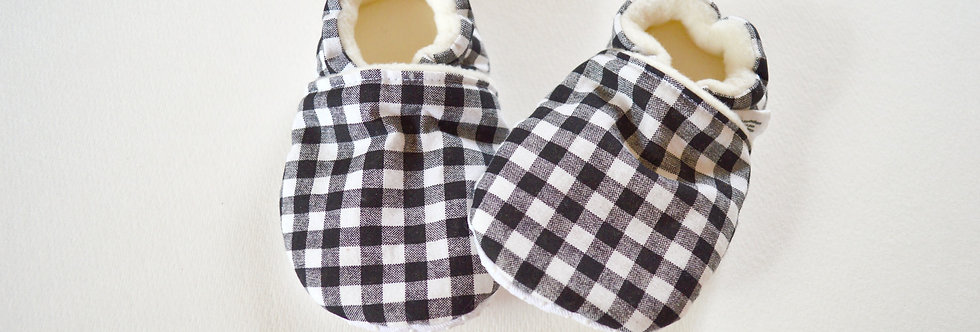 Black and white gingham baby shoes