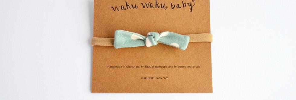 Organic Cotton Hair Bow - Mint Dots