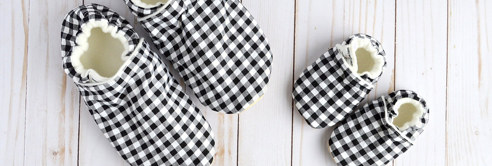 Matching Family Room Shoes - Black and White Gingham