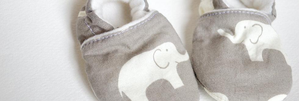 grey elephant baby shoes close up