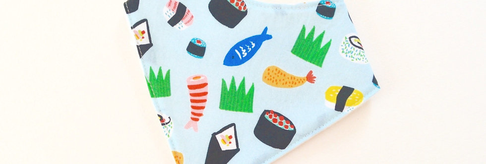 Baby bandana bib in sushi design with light blue background