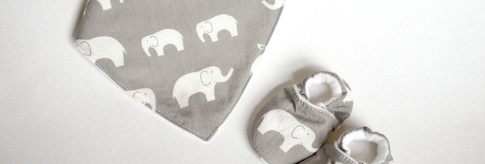 Grey elephant baby bib and shoes gift set