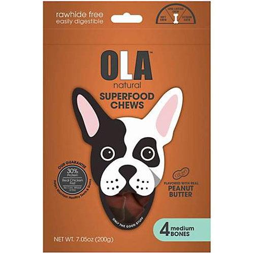 OLA Natural Superfood Chews Peanut Butter Potato Medium Bones Dog Treats