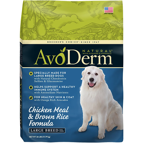 AvoDerm Natural Chicken Meal & Brown Rice Formula Large Breed Adult Dry Dog Food