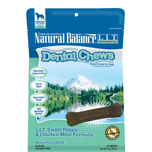 Natural Balance L.I.T. Dental Chews Sweet Potato & Chicken Meal Dog Treats