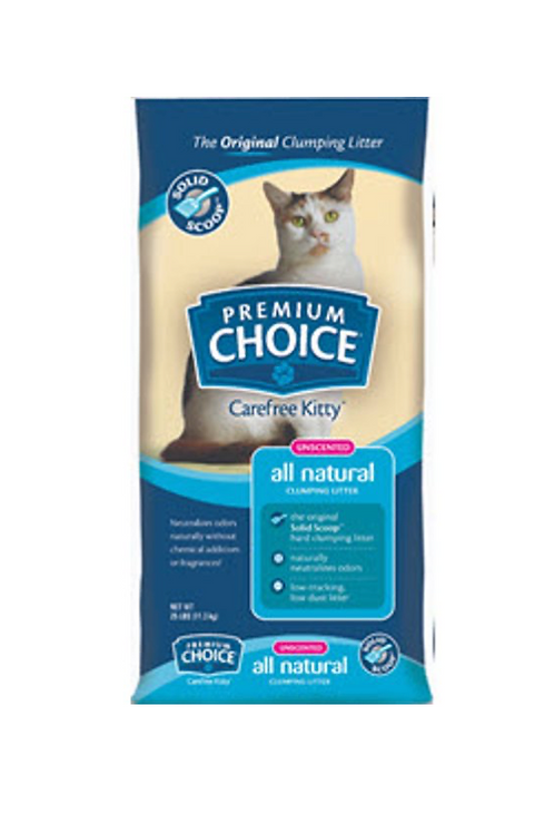 Premium Choice Carefree Unscented Clumping Clay Cat Litter