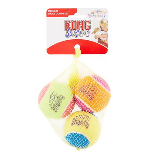 KONG Squeakair Birthday Balls Dog Toy, Color Varies, 3-pack