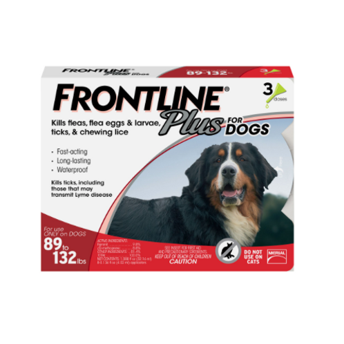 Frontline Plus Flea & Tick Dog Treatment 89-132 lbs
