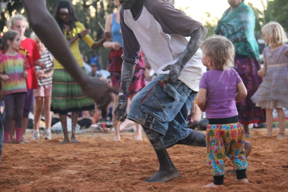 Kids can get involved in the Aboriginal Traditional Dancing at Barunga Aboriginal Festival in the Northern Territory