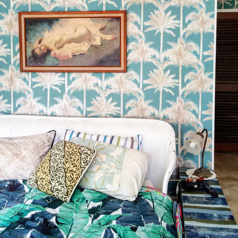 The beautiful bedroom from one of the Artists Houses in Port Douglas in North Queensland