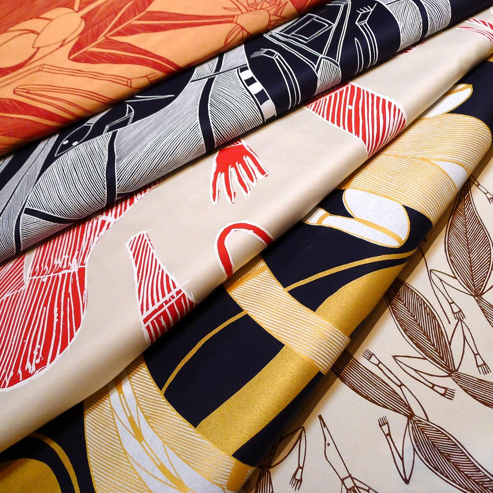 Beautiful hand printed fabrics from Injalak Art Centre