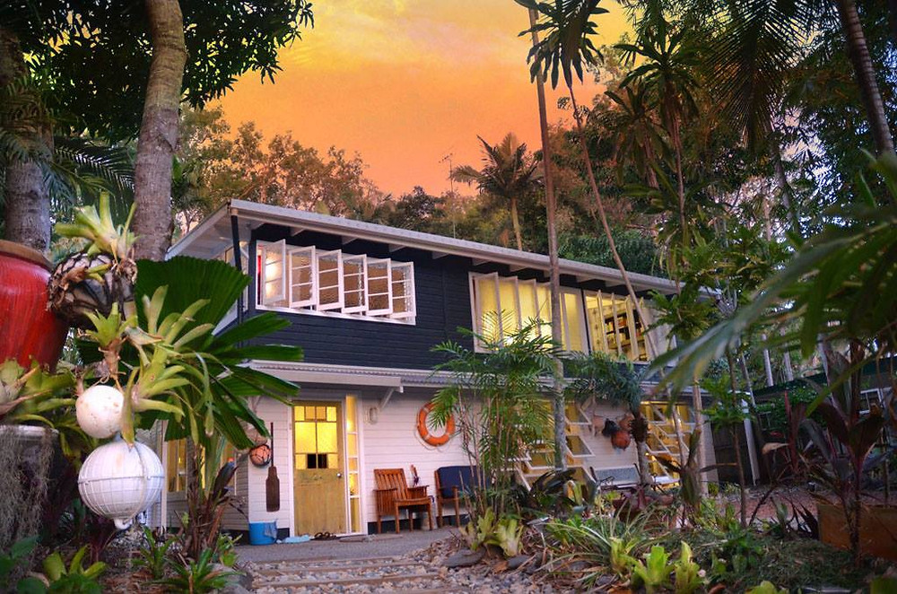 The front of the Artists Beach House in Port Douglas, a family friendly Airbnb rental property