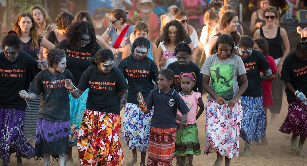 Aboriginal women and children doing traditional dancing at the Barunga Aboriginal festival in the Northern Territory