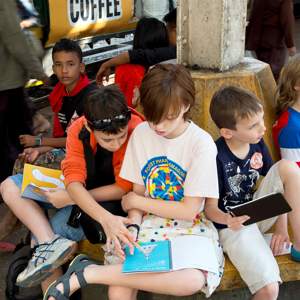 Kids with Leap and Hop travel books in Myanmar