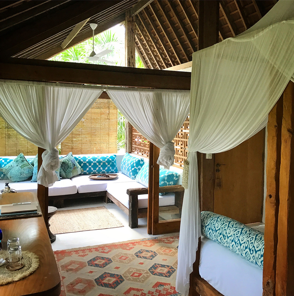 The upstairs room at Sky View Villa, Stone House, Ubud