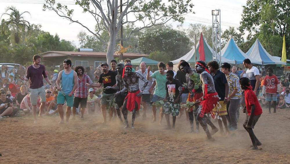 Traditional dancing at Barunga Aboriginal festival in the Northern Territory, Australia