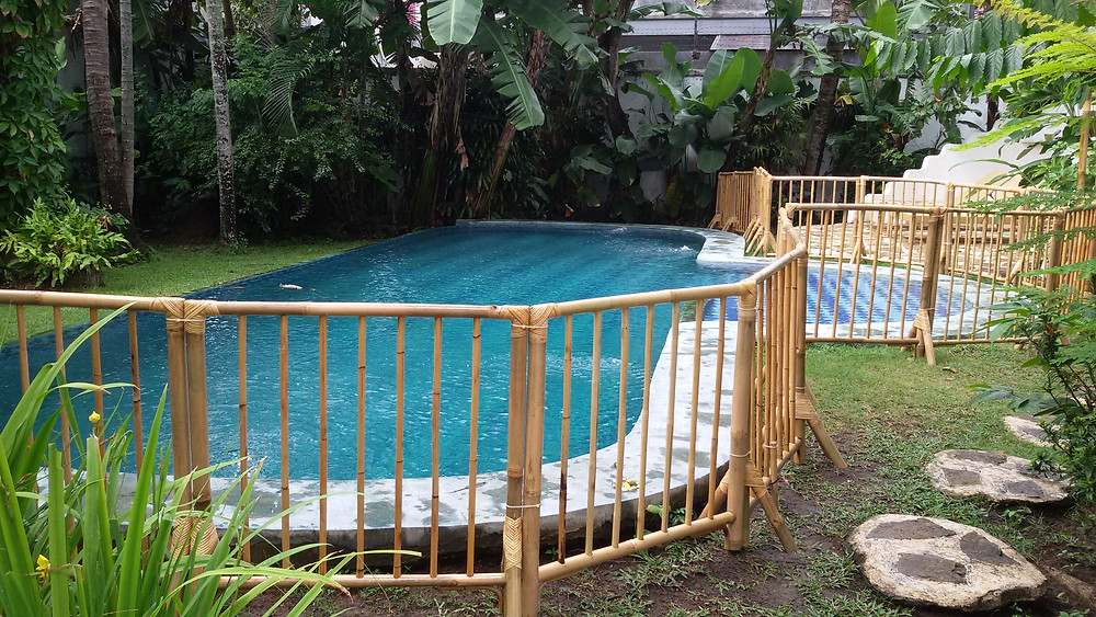 Bali Baby provides temporary pool fencing for villas in Bali. their pool fences are made from bamboo.
