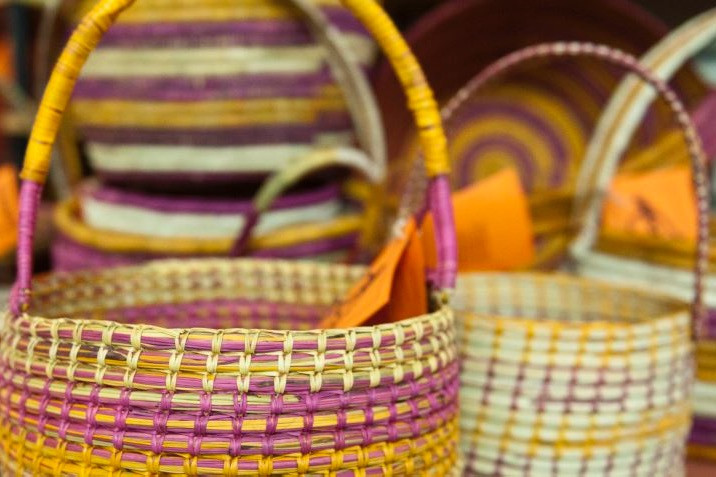 Beautiful hand made Aboriginal pandanus baskets from Injalak Art Centre in Arnhem Land