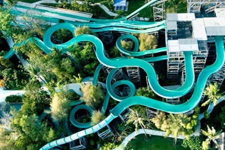 Waterslides at Waterbom Park in Bali