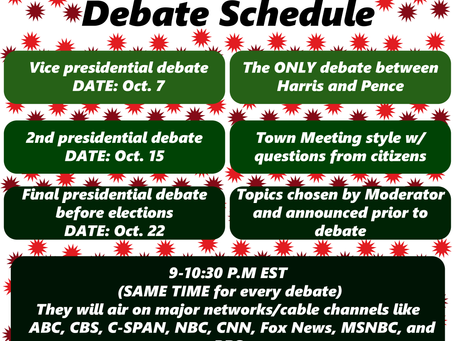 2020 Presidential Debate Schedule