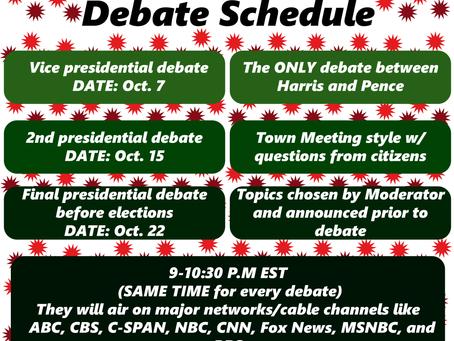 2020 Presidential Debate Schedule