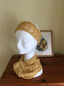 Old gold headband & neck gaiter