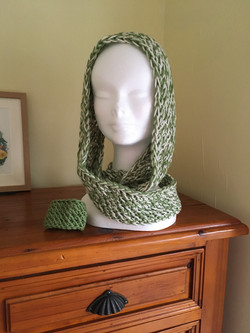 Sage extra-long neck gaiter with scarf ring