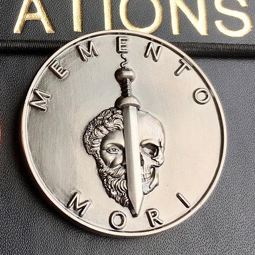 Matte Silver Memento Mori coin