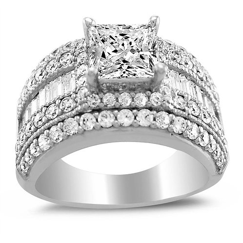 14k White Gold 2 1/2ct TGW Princess-cut Diamonette Engagement Ring