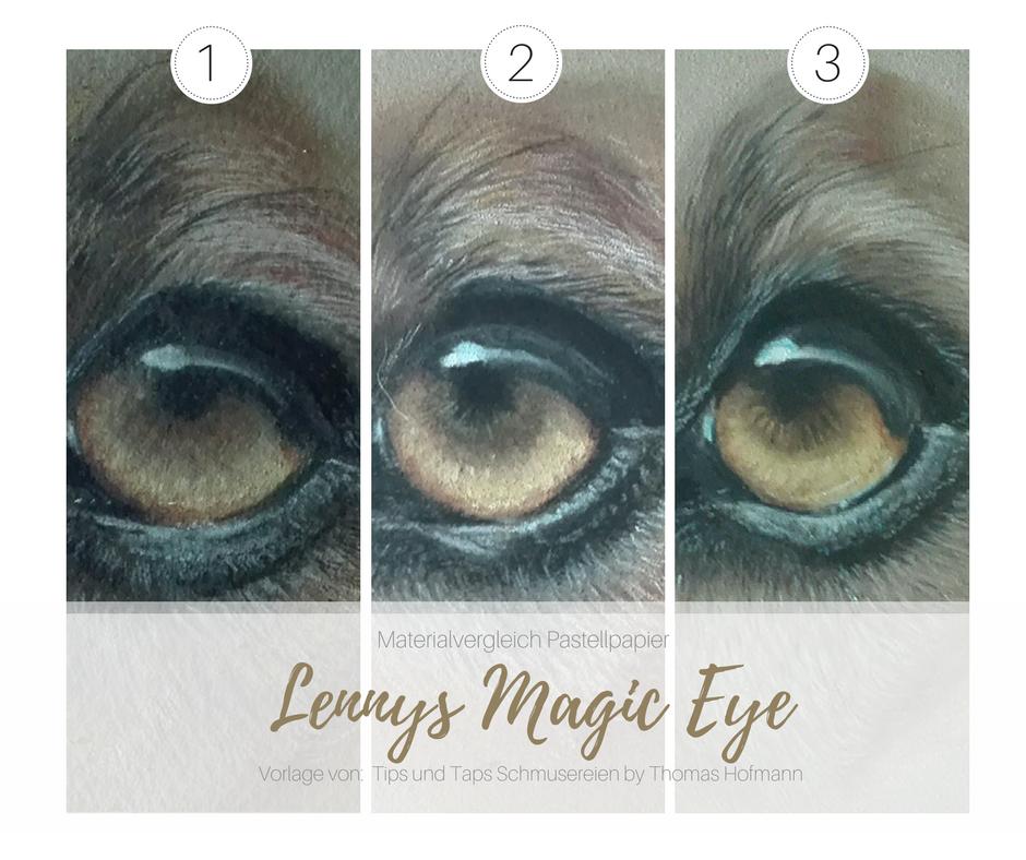 Lennys Augen  mit unterschiedlichem Material gezeichnet im Überblick