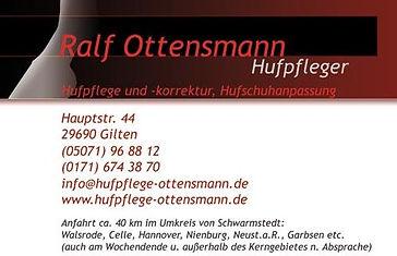 Beispiel für die Gestaltung einer Visitenkarte für Hufpflege Ottensmann