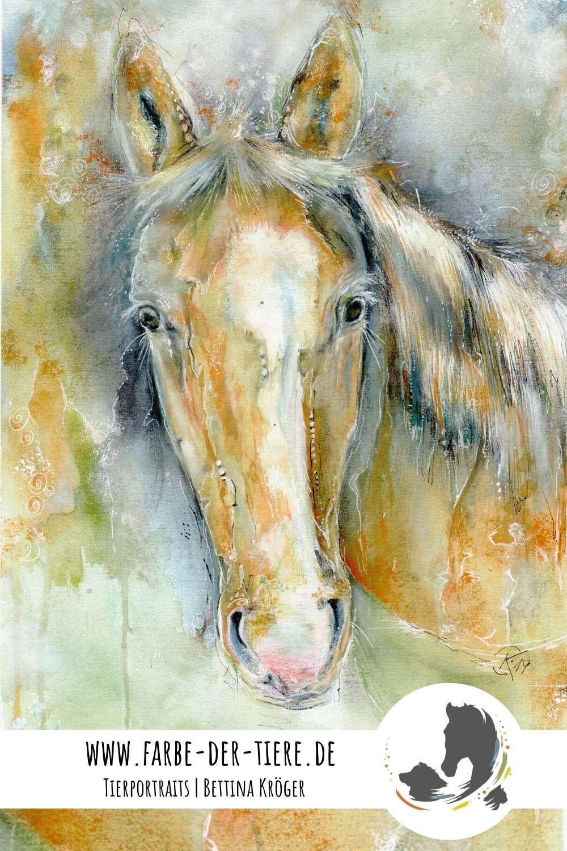 Elli Tierportrait Pferd - Aquarell Mischtechnik