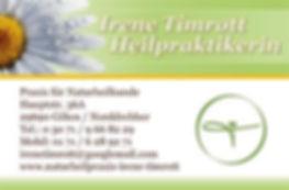 Beispiel für die Gestaltung einer Visitenkarte für Naturheilpraxis irene timmrott