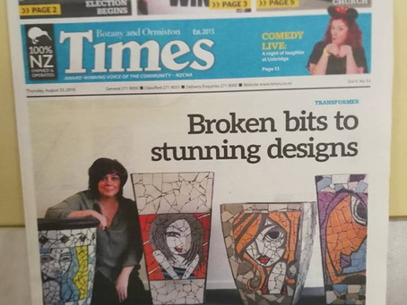 MOSAIC ART ARTICLE IN THE TIMES NEWSPAPER