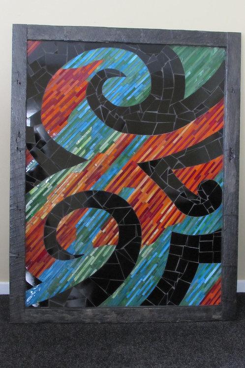 Koru Contrast Mosaic Sculptural Painting