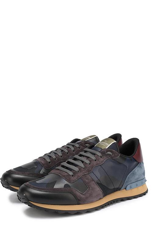 VALENTINO комбинированные кроссовки Rockrunner с камуфляжным принтом