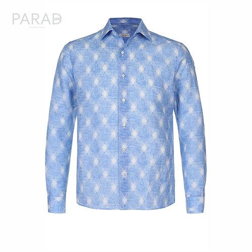 ZILLI рубашка из смеси льна и хлопка с принтом