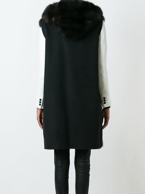 Черное кашемировое пальто из соболиного меха без рукавов от Manzoni 242