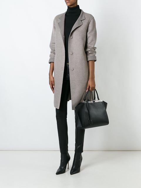 Серое кашемировое пальто средней длины от Manzoni 24.