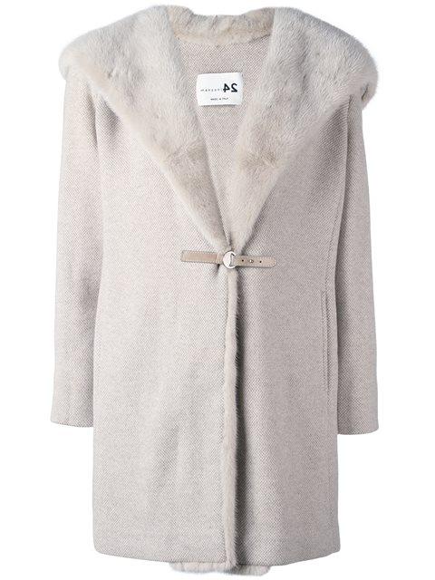 Пальто песочного оттенка с оторочкой мехом норки от Manzoni 24 2