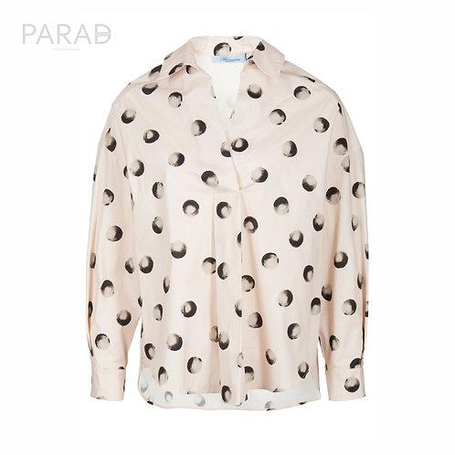 BLUMARINE бежевая ассиметричная блуза с акварельным принтом