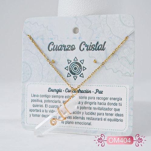 OM404 Set de Collar y Topitos - Cuarzo Cristal