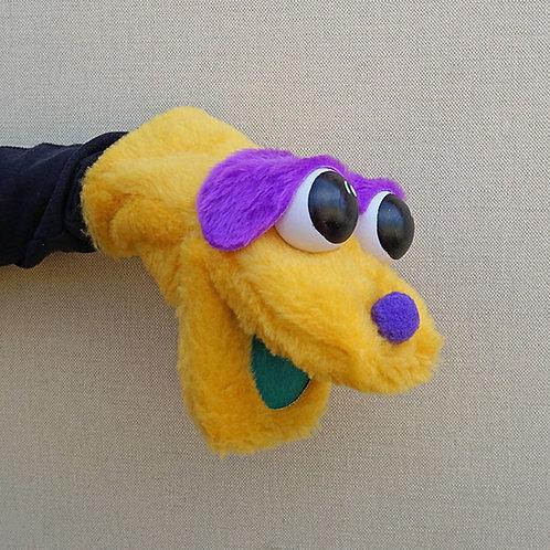 Títere bocón amarillo y morado