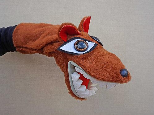Títere de guante de lobo marrón