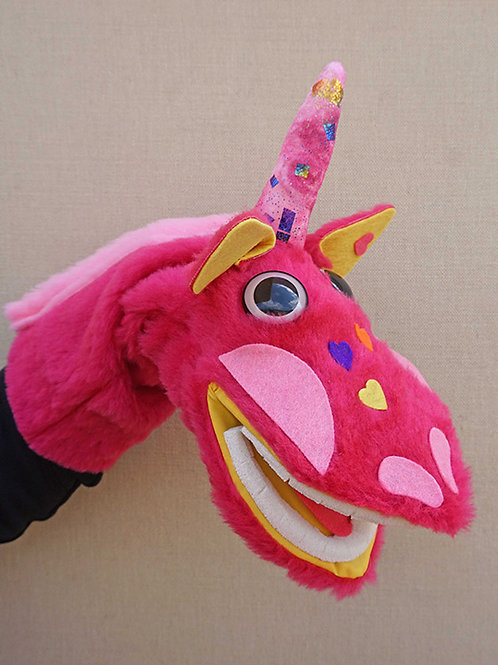 Títere de mano de unicornio fucsia