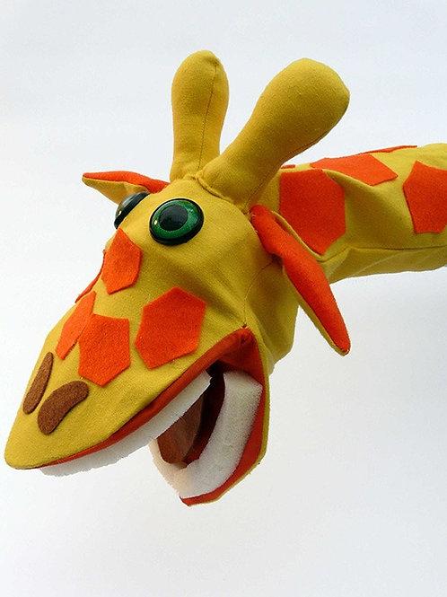 Títere de jirafa amarilla y naranja